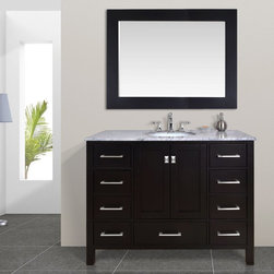 Stufurhome LLC - Stufurhome 48 in. Malibu Espresso Single Sink Bathroom Vanity Dark Brown - GM-64 - Shop for Bathroom Cabinets from Hayneedle.com! The luxury of storage space is hard to come by when shopping for a stylish piece of bathroom furniture. Thankfully the Stufurhome 48 in. Malibu Espresso Single Sink Bathroom Vanity is loaded with plenty of space to store all your bathroom items and looks fabulous while doing so. The cabinet of this contemporary bathroom vanity is constructed of solid oak with a rich espresso finish that contrasts with the Carrara white marble countertop. Keep toiletries tucked away within the cabinet s nine soft-closing drawers each adorned with shining stainless steel hardware. Two soft-closing middle doors open to reveal additional storage space and a shelf inside adding ample storage space for towels bathroom tissue cleaning products and more. Add the optional marble countertop which features a single undermount sink with plenty of counter space on either side providing a perfect space for spreading out to get ready for the workday or a fun evening on the town. Choose to add the optional mirror whose frame coordinates perfectly with the pure white finish imparting a tied-together look that makes a striking impression in any bathroom. Choose the vanity base only; the vanity base with top and sink; or the vanity base top sink and mirror.About StufurhomeBased in San Francisco Stufurhome boasts the best and broadest selection of well-designed well-crafted sink vanities and home furniture. Classic Venetian contemporary modern chic - Stufurhome has every vanity style in a variety of sizes to accommodate all modern bathrooms. Hand-carved moldings antiqued brass hardware fine finishes and hand-painted details add artistry to every piece.
