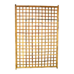 "Master Garden Products - Framed Bamboo Lattice Panel, Square Opening Pattern - Framed bamboo square trellis can be hung over an open wall, or used as a fence or trellis for a climbing vine. These bamboo trellises are handcrafted using an old traditional technique of bamboo dowels and polyester ties, meaning no metal hardware are used to prevent rusting. Using solid 1.5"" bamboo poles as the frame, these trellises are solid and durable. Comes in 48""W x 72""H size."