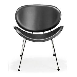 Zuo Modern - Zuo Modern Match Modern Lounge Chair (Pack of 2) X-101001 - The Match chair has two elegantly shaped scoops made of a durable hard leatherette that form a symmetrical seat and back. The frame is chromed solid steel with hardwood friendly rubber feet. A perfect chair to complete any leisure space.