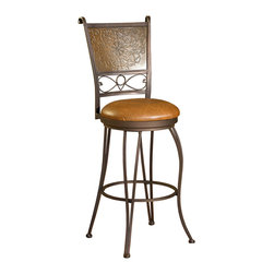 """Powell - Powell Bronze with Muted Copper Stamped Back 30 Inch Bar Stool - The intricate details on this bar stool make it a unique and eye-catching piece. Finished in bronze and accented with a muted copper, the curved legs and stamped back provide interest to a somewhat simple design. The seat is covered in a rich brown PVC and has a height of 30"""". Some assembly required."""
