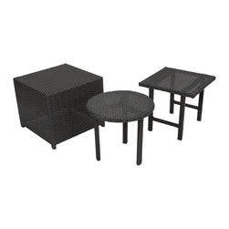 Great Deal Furniture - Laguna Outdoor Wicker Table Set, 3 Pieces - The Laguna wicker table set is a great addition to any outdoor setting, including poolside areas, balconies, and porches. This set features three unique wicker tables: a square top-table, a round top-table and one cube table that double as a stylish ottoman. All three are carefully woven with black, thick wicker. These are great for serving snacks and beverages poolside, can be used for your outdoor storage needs, or for decorative ornamentation in your garden.