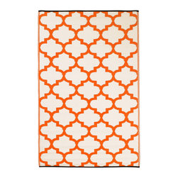 Fab Habitat - Tangier Rug, Carrot & White, 4x6 - Just because indoor/outdoor rugs are so practical, it doesn't mean they have to look rugged. This one's Moroccan-inspired pattern is more stylish than recycled plastic has any business being. Washable, lightweight and reversible, you can take it on the lawn for picnics, leave it on the pool deck for sunbathing or put it in the kitchen for a mess resistant pop of color.