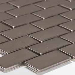 """$14.95SF 1.5 x 3"""" Brick Metal Mosaic Free Shipping Stainless Steel - Earthworks Series Metal Mosaics provide a sleek, stylish, contemporary look to any installation. An attractive alternative to more traditional materials for use in kitchen backsplashes, feature walls or decorative borders in the bathroom, kitchen, or hallway. The fashionable and visually attractive Earthworks Series tiles consist of a porcelain tile body wrapped in stainless steel for clean geometric looks."""