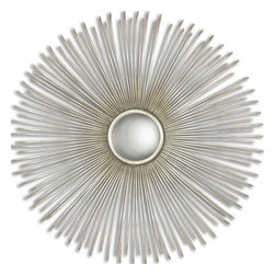 Uttermost - Launa Round Silver Mirror - Hand forged metal frame finished in oxidized, plated silver. Mirror is convex.