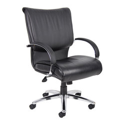 "Boss Chairs - Boss Chairs Boss Mid Back Black Chair with Chrome Base and Arms  with Knee Tilt - Executive leather chair. Upholstered with black Leather Plus. Leather plus is leather that is polyurethane infused for added softness and durability. Dacron filled top cushions. Adjustable tilt-tension control. Pneumatic gas lift seat height adjustment. Large 27"" chrome metal base for greater stability. Hooded double wheel casters. Comes standard with knee-tilt mechanism. Matching guest chair model (B9709C)."