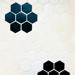 Vintage Flower Honeycomb - Black and White Honeycomb tile in flower design.