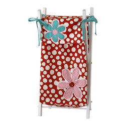 Cotton Tale Designs - Lizzie Hamper with Frame - A quality baby bedding set is essential in making your nursery warm and inviting. Cotton Tale uses quality materials and unique designs to create your perfect nursery. Part of the Lizzie collection this hamper shown on sturdy white lacquer frame, bag in large red dot. Appliqued daisies' in pink and turquoise. Accent ties in turquoise bias. Wash hamper bag in gentle cycle, separate, cold water. Tumble dry low or hang dry. This collection is perfect for your little girl.