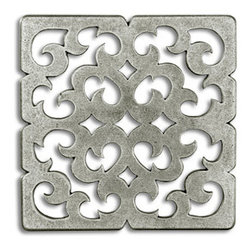 "Compliments Accessories - Constantine Tile - Byzantine open scrollwork design in a 3x3"" tile with a Pewter finish"