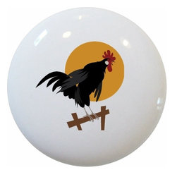 Carolina Hardware and Decor, LLC - Rooster on Fence Ceramic Knob - New 1 1/2 inch ceramic cabinet, drawer, or furniture knob with mounting hardware included. Also works great in a bathroom or on bi-fold closet doors (may require longer screws). Item can be wiped clean with a soft damp cloth. Great addition and nice finishing touch to any room!