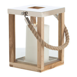 Tate Small Glass/Wood/Steel Lantern - The Tate Lantern in Glass, Wood, and Steel perfectly balances materials into a geometric arrangement with a nostalgically homelike ambiance. The atmospheric tabletop lantern takes the simple form of a tall cube with weathered wood edges and clear glass walls, as well as a rope handle attached to the polished steel cap. Its total look is appropriate for any setting where a hint of adventure contributes to the mood.