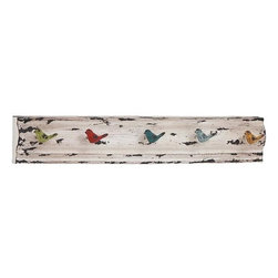 Home Decorators Collection - Flight Wall Hooks - Bring cottage style home with our unique Flight Wall Hooks. Five birds of different colors jut forward from a scalloped slab of iron, ready to catch your purses, backpacks and coats. Iron with distressed painted finish. 5 hooks on a solid panel. Keyhole hangers on back.