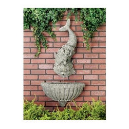 Ladybug - Cherub Dolphin Wall Fountain in Moss Finish - Includes pump and tubing. Weather resistant finish. Wall-mounted. 1-Year warranty. Made in USA. Made of pecan shell resin. Top: 13 in. W x 7.5 in. D x 33 in. H (19 lbs.). Bottom: 23.75 in. W x 11 in. D x 13 in. H (11 lbs.)The finishes are applied by hand, enhancing every detail, and resulting in the uniqueness of no two pieces being exactly alike. Each individually hand-crafted piece of Ladybug product is cast in a crushed marble or resin composition which has the ability to capture and reproduce the same definition and minute detail as the original. It is a substantial, non-porous material which does not absorb moisture, making it ideal for outdoor use, although it offers the strength and durability required to endure even extreme weather conditions.