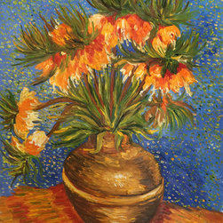"overstockArt.com - Vincent Van Gogh - Crown Imperial Fritillaries in a Copper Vase - 20"" X 24"" Oil Painting On Canvas Hand painted oil reproduction of one of the most famous Van Gogh paintings, Crown Imperial Fritillaries in a Copper Vase. The original masterpiece was created in 1887. Today it has been carefully recreated detail-by-detail, color-by-color to near perfection. This painting was created during the time when Van Gogh was focused on color contrasts. The flower petals against the speckled blue background complement each other nicely. Vincent Van Gogh's restless spirit and depressive mental state fired his artistic work with great joy and, sadly, equally great despair. Known as a prolific Post-Impressionist, he produced many paintings that were heavily biographical. This work of art has the same emotions and beauty as the original by Van Gogh. Why settle for a print when you can add sophistication to your rooms with a beautiful fine gallery reproduction oil painting?"