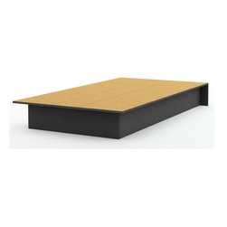 South Shore - Twin Platform Bed in Black - Step One Collect - Manufactured from eco-friendly, EPP-compliant laminated particle boardcarrying the Forest Stewardship Council (FSC) certification. Contemporary design. Assembly required. 74.75 in. W x 40 in. D x 8.25 in. H