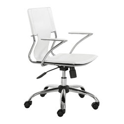 "Zuo - ""Zuo Trafico Office Chair, White"" - ""This fun and functional office chair combines a modern and transitional look. The Trafico office chair is made from a solid chrome frame, leatherette sling seat and arm pads, a chrome base, and an adjustable height mechanism.Dimensions (W x L x H): 22"""" x 23"""" x 33~37""""Seat Height: 17~21""""Seat Depth: 16.5""""Seat Width: 17""""Cubic Feet: 3.96Weight: 24.9 lbsMaximum Weight Capacity: 250 lbsProduct Cover: LeatheretteProduct Material: Chromed SteelAssembly Required: Yes"""