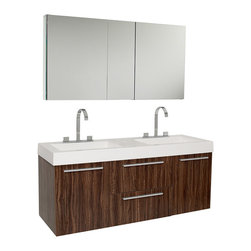 """Fresca - Fresca Opulento Walnut Double Sink Vanity w/ Medicine Cabinet - Dimensions of vanity:  54""""W x 18.63""""D x 23.5""""H. Dimensions of medicine cabinet:  49""""W x 26""""H x 5""""D. Materials:  MDF with acrylic countertop/sinks with overflow. Soft closing drawers and doors. Widespread faucet mount (8""""). P-traps, faucets, pop-up drains and installation hardware included. There is always great design in simplicity.  Double the greatness with this double sink vanity with accompanying medicine cabinet.  To ease any storage worries, beautiful mirrored medicine cabinet will satisfy immediate storage needs for two.  A beautiful widespread chrome faucet is also included.  A great ensemble for those with room to spare but not without limitations on measurements.  Ideal for anyone looking for a winning combination of style, sleek design, and size that brings it all together to present something dashingly urban."""