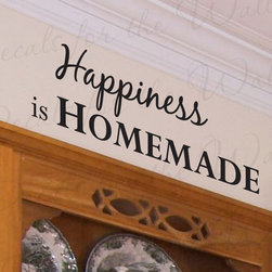 Decals for the Wall - Wall Decal Quote Sticker Vinyl Art Removable Happiness is Homemade Kitchen KI06 - This decal says ''Happiness is homemade''