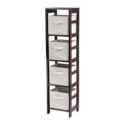 Winsome - Winsome Capri 4-Section N Storage Shelf Bookcase with 4 Foldable Beige Fabric Ba - Shop for Bathroom Shelving from Hayneedle.com! It might be hard to think of a storage shelf as breezy but you will when you see the Capri 4-Section N Storage Shelf with 4 Foldable Beige Fabric Baskets. Four removable collapsible beige fabric baskets are soft and have handles for easy pullout storage. They fit snugly into a sleek wood solid and veneer frame made rich with a dark wood finish; the 3-section design is easy to access and still slim enough to fit in small spaces. The result is a super-fresh contemporary look ready to store clothes in the bedroom linens in the bathroom and loads of laundry in the washroom. Assembly is required; 30-day warranty included.Basket DimensionsBaskets: 11W x 10D x 9H inchesAbout Winsome TradingWinsome Trading has been a manufacturer and distributor of quality products for the home for over 30 years. Specializing in furniture crafted of solid wood Winsome also crafts unique furniture using wrought iron aluminum steel marble and glass. Winsome's home office is located in Woodinville Washington. The company has its own product design and development team offering continuous innovation.
