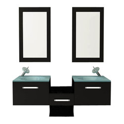"JWH Imports - 58"" Estrella Double Vessel Sink Modern Bathroom Vanity Furniture Set - If you're craving a spa bathroom, look no further. The double-vessel, frosted-glass sinks are recessed into dark espresso-colored cabinets. The flip-down cabinet openings are a very modern take on drawers. This is a MOMA moment."