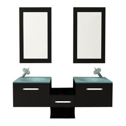 "58"" Estrella Double Vessel Sink Modern Bathroom Vanity Set"