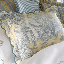 """Legacy Home - Legacy Home Scalloped Toile Breakfast Pillow, 12"""" x 16"""" - A charming combination of patterns on this bedding in a palette of yellow, moss, blue, and cream. Toile linens are made of cotton; striped accessories are polyester/cotton; checked accessories are silk. Gathered dust skirts have an 18"""" drop. Tie-top toi..."""