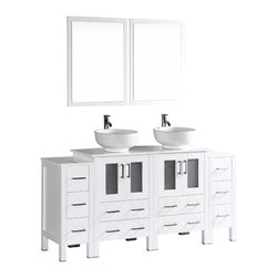 """Bosconi - 72"""" Bosconi AB224RO2S Double Vanity, White - Sleek composition meets purpose with this robust 72"""" glossy white Bosconi double vanity set. The ceramic, round vessel sinks and perfectly coordinating mirrors will give any bathroom a stylish and current feel. Features include two spacious cabinets with soft closing doors, as well as, two detached side cabinets with three pull out drawers each. Plenty of space to accommodate towels, toiletries and bathroom accessories."""