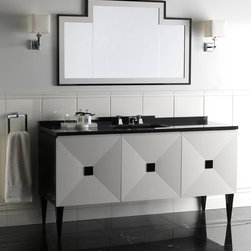 Vanities, Washstands, Pedestals... - A stylish complement for the most elegant bathrooms, this piece evokes all the fascination of the art deco style popular in America in the 1940s. Its clean-cut, uncluttered design is further accentuated by an attractive black gloss lacquered finish and the striking contrast between the deep black of the wood structure and granite top and the dazzling white of the three push-opening doors.  Available in 2- or 3-door versions with a wide choice of combinations of marble, ceramic and wood.