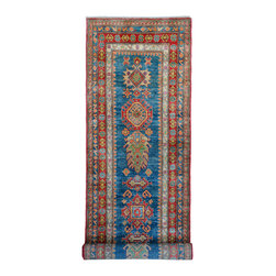 "ALRUG - Handmade Turquoise/Blue Oriental Kazak Runner 2' 7"" x 9' 5"" (ft) - This Afghan Kazak design rug is hand-knotted with Wool on Cotton."