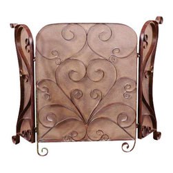 Uttermost Daymeion Metal Fireplace Screen - Lightly distressed cocoa brown with light tan glaze. This screen is made of hand forged metal with a lightly distressed cocoa brown finish with light tan glaze.