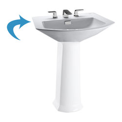 "Toto - Toto LT962.8#11 Colonial White Soiree Pedestal Lavatory, Sink Only - The Toto LT962.8#11 is a Pedestal Lavatory Sink Only, In the Soiree Suite From Toto USA. The Toto LT962.8#11 Has Holes to Mount 8"" Center Faucet and comes in Colonial White Finish"