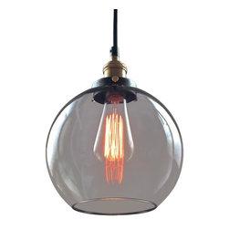 Westmenlights - Smoke Glass Globe Pendant Light - Materials: Copper,Glass
