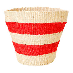 Striped Basket, Red - These versatile baskets are handwoven from strands of natural and hand dyed sisal, by female artisans in rural Kenya. Useful as small storage baskets, office or bathroom wastebaskets or as an exterior cover for potted plants. Baskets can easily be reshaped by lightly spraying with water and molding into shape.