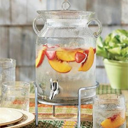 """Tag - Clear Vintage Bubble Glass Drink Dispenser - The Tag Summer Clear Vintage Bubble Glass Jar Drink Dispenser is a clever server at any party or affair. Clear hand blown bubble glass has a vintage charm that makes it a perfect accessory for outdoor and indoor entertaining. The sealed glass beverage server's lid has rubber gasket and great stainless steel coated spout will maintain  a steady flow of lemonade, sangria and iced tea drinks.                                               * 10.25"""" Tall,  7 """" Diameter                       * Hand wash                       * 1.2 Gallons      * See matching willow stand: item TG202487 or matching metal stand item: T203553"""