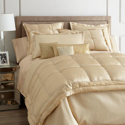 "Donna Karan Home - Donna Karan Home Modern Classics Full/Queen Quilt, 90"" x 95"" - Silk accented with a tufted border; backed with cotton sateen. Dry clean. 90"" x 95"". Select color when ordering."