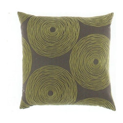 "Canaan - 24"" x 24"" Gaucho Green Concentric Circles Throw Pillow with Insert and Cover - 24"" x 24"" Gaucho green concentric circles throw pillow with a feather/down insert and zippered removable cover. These pillows feature a zippered removable 24"" x 24"" cover with a feather/down insert. Measures 24"" x 24"". These are custom made in the U.S.A and take 4-6 weeks lead time for production."