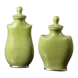 "Uttermost - Uttermost Irwyn Containers Set of 2 19805 - Crackled, bright green ceramic with metallic silver accents. Removable lids. Small size: 10""W x 15""H x 5""D, Large size: 9""W x 18""H x 5""D."