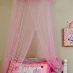 None - Feather Boa Mosquito Net Canopy - Create a dreamy look that is fit for a princess with this girl's pink bed net canopy that features a fun design that is accented by a faux-feather boa. This easy-to-install 100 percent polyester canopy comes with a hanging hoop and hardware.