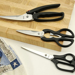 None - All-purpose Kitchen Scissors (Set of 3) - Cut meat, open bottles, and more with these all-purpose kitchen scissors. With durable stainless-steel blades and easy-grip handles, this scissor set will come in handy in a variety of culinary activities. Black handles complement any kitchen decor.