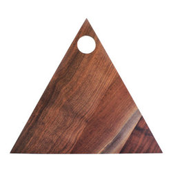 Triangle Walnut Cutting Board - Who knew a cutting board could be trendy? Our smooth finished walnut wood triangle makes a statement under the knife. 13 inches, produced in Portland, Oregon, and finished with non-toxic, food-safe mineral oil.