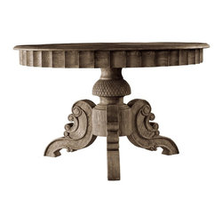 """Parisian Vintage Round Table 55"""" - Inspired by 18th century french home furnishings.Weathered solid oak table with hand carved base and carved apron going around table oak top."""