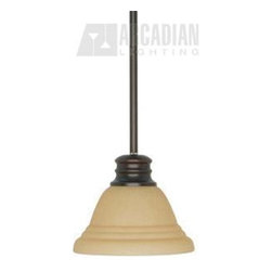 Satco - Satco Empire ES Energy Efficient Traditional Mini Pendant Light X-2313/06 - Nuvo Lighting presents the Empire ES Energy Efficient Traditional Mini PEndant Light. The Champagne Washed Linen glass shade makes the Mahogany Bronze finish blend delightfully. As a hang-straight canopy, this light will bring a classic look to your home.