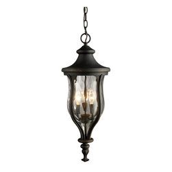 Elk Lighting - Elk Lighting 42254/3 Grand Aisle 3-Light Outdoor Pendant in Weathered Charcoal - 3-Light Outdoor Pendant in Weathered Charcoal belongs to Grand Aisle Collection by Elk Lighting The Grand Aisle Collection Was Designed To Resemble The Large European Gas Lanterns Found On Stately Avenues And Important Historical Structures.  This Beautiful Collection Combines Tapered Water Glass With A Cast Aluminum Frame Finished In Weathered Charcoal.  Pendant (1)
