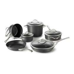 Calphalon - Calphalon Contemporary Nonstick 11-Piece Cookware Set Multicolor - 1876787 - Shop for Cookware Sets from Hayneedle.com! Everything you need from the essentials to the specialty pieces is all right here in the Calphalon Contemporary Nonstick 11-Piece Cookware Set. Triple-layer PFOA-free nonstick material is built to last (and even dishwasher safe) while the heavy-gauge hard-anodized aluminum promotes even heating. Stainless steel loop handles complete the design and these pieces are oven safe up to 450 degrees Fahrenheit. You ll get a 10-inch fry pan a 12-inch fry pan with lid a 1.5-quart sauce pan with lid a 2.5-quart sauce pan with lid a three-quart saute pan with cover and an eight-quart stock pot with lid. Manufacturer s full lifetime warranty.About CalphalonCalphalon's mission is to be the culinary authority in kitchenwares enhancing the home chef's food experience during planning prep cooking baking and serving. Based in Toledo Ohio Calphalon is a leading manufacturer of professional quality cookware cutlery bakeware and kitchen accessories for the home chef. Calphalon is a Newell-Rubbermaid company.Calphalon's goal is to give you the home chef all the tools you need to realize your highest potential in the kitchen. From your holiday roasting pan to your everyday fry pan count on Calphalon to be your culinary partner - day in and day out for breakfast lunch and dinner for a lifetime.