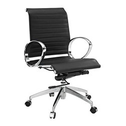 Modway - Ribbed Mid Back Office Chair in Black - Regarded as one of the most iconic designer office chairs of the modern classics, this piece adds weight and poise to your office. With superior comfort as well as style, this chair is worthy of its fame and perfect for the discerning business.