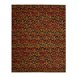 """Nourison - Nourison Rhapsody RH014 9'9"""" x 13' Flame Area Rug 18801 - Rich ruby red smolders against tones of ebony and orange like the embers of an eternal fire. The dancing flamelike shapes in a random repeat pattern contribute to the hypnotic effect of this design. A singular and amazing centerpiece rug."""