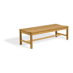 Oxford Garden - Backless Bench 5 Foot - Based on the same timeless design as our Classic Design 5 Food Garden Bench, this backless bench will grace any area you choose to place it.  Because this bench does not use a back or arms, it will fit many applications which require an unobstructed view.  The seat of this bench is scooped out just like all of our other benches to provide that extra element of comfort.  Because it is made of shorea, our Backless 5 Foot Bench is idea for any outdoor setting.  Shorea requires no finishing and will not rot when left outdoors where rain and sun will damage other lesser quality woods.  Left untreated, shorea will weather to a soft warm shade of gray similar to the weathering of teak.  Sturdy mortise and tenon construction provides the highest quality joinery that will last for many years.  Original color can be maintained by applying a seasonal coat of teak oil.