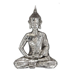 "Benzara - Polystone Sitting Buddha In Silver Color - If you are looking for low cost but rare to find elsewhere decor item to bring extra galore that could refresh the decor appeal of short spaces on tables or shelves, beautifully carved 44173 Polystone Sitting Buddha may be a good choice.; Material: Polystone; Color: Silver; Unique table and garden decor with religious blend; Meditating Buddha; Coordinating; Affordable option for customized gift; Dimensions: 23""H,17""W"