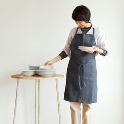 Daily Apron, Riviere - Keep your clothes clean with this pretty Fog Linen apron as you wax the furniture. Made with 100 percent linen, each wash will make it softer and more absorbent.