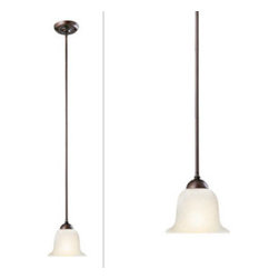 DHI-Corp - Ironwood Mini Pendant, Brushed Bronze - The Design House 517730 Ironwood Mini Pendant is made of formed steel, flared snow glass and finished in brushed bronze. This 1-light ceiling mount is rated for 120-volts and uses (1) 60-watt medium base incandescent bulb. This pendant's linear construction and contemporary appeal extends long from the ceiling with a soft downward facing lamp gently diffusing light. Measuring 44.5-inches (H) by 6.75-inches (W), this 2.12-pound fixture can be mounted alone for a subtle look, or in a row for a modern centerpiece. Rustic details accentuate the flared snow glass for a vintage appeal over a kitchen island, bar or dining room table. This product is UL and cUL listed. The Ironwood collection features a beautiful matching chandelier, vanity light, wall sconce and ceiling mount. The Design House 517730 Ironwood Mini Pendant comes with a 10-year limited warranty that protects against defects in materials and workmanship. Design House offers products in multiple home decor categories including lighting, ceiling fans, hardware and plumbing products. With years of hands-on experience, Design House understands every aspect of the home decor industry, and devotes itself to providing quality products across the home decor spectrum. Providing value to their customers, Design House uses industry leading merchandising solutions and innovative programs. Design House is committed to providing high quality products for your home improvement projects.