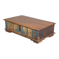 """Sierra Living Concepts - Antique Style Reclaimed Wood 14"""" Tall Storage Bedroom Chest - Gather around out Gothic Blue & Brown Coffee Table Chest as you sit on the floor and play games or relax on a sofa to watch your favorite show. This hand crafted multi-use storage box is great in the living room, media center, or bedroom. It has an authentic distressed quality because it is built with reclaimed wood from Gujarat."""